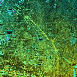 Radar Image with Color as Height, Old Khmer Road, Cambodia