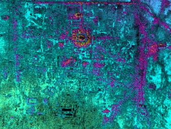 This radar image, taken by NASA's Airborne Synthetic Aperture Radar in 2002, shows Hariharalaya, the ancient 9th Century A.D. capitol of the Khmer in Cambodia in the upper center portion.