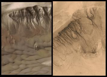 NASA's Mars Global Surveyor shows gullies on the walls of two different meteor impact craters that occur in Newton Basin in Sirenum Terra, Mars, exhibiting patches of wintertime frost on the crater wall, and dark-toned sand dunes on the floor.