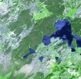 This image of Yellowstone National Park was acquired on July 2, 2001 by NASA's Terra satellite.