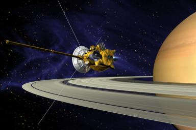 This is an artists concept of NASA's Cassini spacecraft during the Saturn Orbit Insertion (SOI) maneuver, just after the main engine has begun firing.