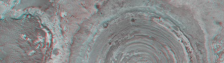 This anaglyph from NASA's Mars Global Surveyor shows a circular feature in northern Terra Meridiani. The circular feature was once an impact crater. 3D glasses are necessary to view this image.