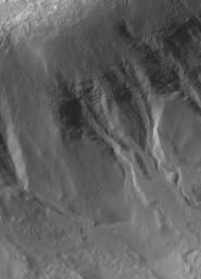 NASA's Mars Global Surveyor shows gullies formed in material on the walls of an impact crater in the martian southern hemisphere. A liquid, laden with debris, poured down these slopes to form the gullies.