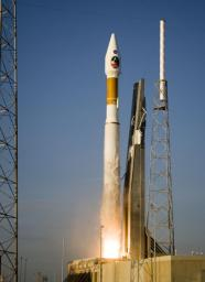 Atlas V launch vehicle, 19 stories tall, with a two-ton NASA Mars Reconnaissance Orbiter (MRO) on top, lifts off the pad on Launch Complex 41 at Cape Canaveral Air Force Station in Florida on Aug. 12, 2005.