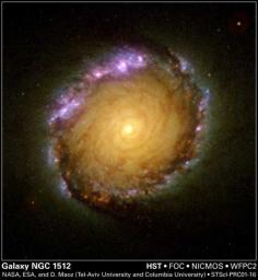 A rainbow of colors is captured in the center of a magnificent barred spiral galaxy, as witnessed by the three cameras of NASA's Hubble Space Telescope.
