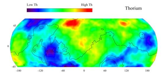 Map of Martian Thorium at Mid-Latitudes