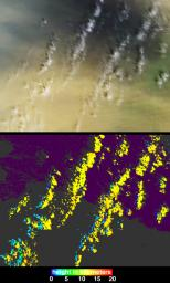 On March 2, 2003, NASA's Terra spacecraft saw near-surface winds carrying a large amount of Saharan dust aloft and transported the material westward over the Atlantic Ocean.
