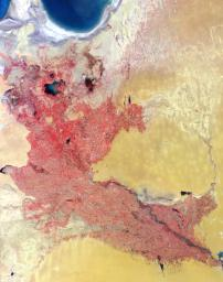 Acquired by the Multi-angle Imaging SpectroRadiometer instrument aboard NASA's Terra spacecraft, this image is from the MISR Where on Earth...? Mystery Quiz #13. The location is Western Uzbekistan and Northeastern Turkmenistan.