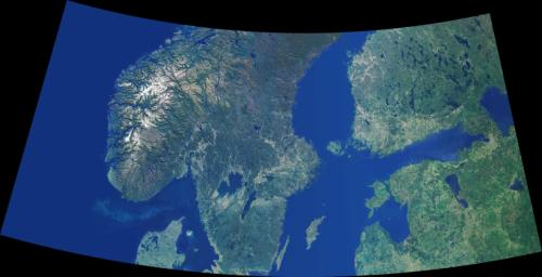 Data from NASA's Terra spacecraft were combined to create this cloud-free natural-color mosaic of Scandinavia and the Baltic region.