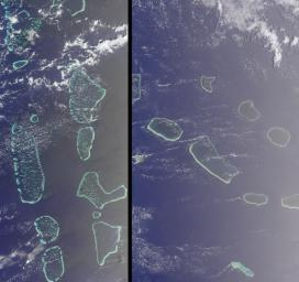 Maldives in the Indian Ocean and Tuamotu, French Polynesia is shown in this MISR Mystery Quiz #16 captured by NASA's Terra spacecraft.