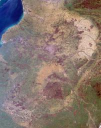 Normandy, Poitou, Bourgogne Regions, France is shown in this MISR Mystery Quiz #18 captured by NASA's Terra spacecraft.