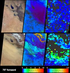 Clear skies on April 11, 2004 (top panels) contrast strongly with the dust storm that swept across Iraq and Saudi Arabia on May 13 (bottom panels) as seen by NASA's Terra spacecraft.