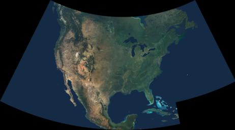 An astonishing diversity of geological features, ecological systems and human landscapes across North America is indicated within this image from NASA's Terra spacecraft.