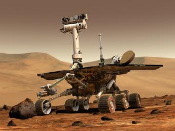 An artist's concept portrays a NASA Mars Exploration Rover on the surface of Mars. Two rovers were launched in 2003 and arrived at sites on Mars in January 2004.