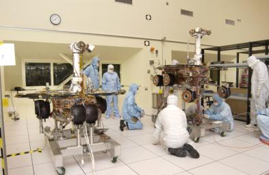 JPL engineers making adjustments to NASA's Mars Exploration Rover 1.