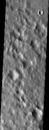 Amidst the hummocky topography produced by the ejecta from Lyot crater, smooth patches of material fill shallow depressions in this NASA Mars Odyssey image.
