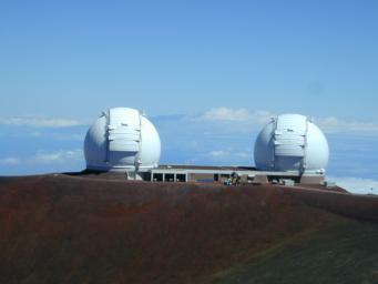 At the summit of Mauna Kea, Hawaii, NASA astronomers have linked the two 10-meter (33-foot) telescopes at the W. M. Keck Observatory. The linked telescopes, together are called the Keck Interferometer, the world's most powerful optical telescope system.