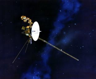 This artist's concept of NASA's Voyager spacecraft with its antennapointing to Earth.