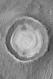 layered crater, schiaparelli basin, mars