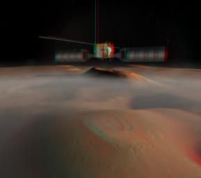 The European Space Agency's Mars Express spacecraft is depicted in orbit around Mars in this artist's concept stereo illustration. 3D glasses are necessary to view this image.