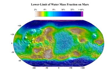 This map from NASA's 2001 Mars Odyssey released on Dec 8, 2003 shows the estimated lower limit of the water content of the upper meter of Martian soil. Highest water-mass fractions, exceeding 30 percent to well over 60 percent, are in the polar region.
