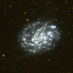 This image of the nearby spiral galaxy NGC 300 was taken by NASA's Galaxy Evolution Explorer in a single orbit exposure of 27 minutes on October 10, 2003.
