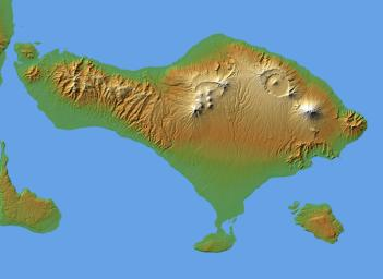The volcanic nature of the island of Bali is evident in this shaded relief image generated with data from NASA's Shuttle Radar Topography Mission (SRTM).