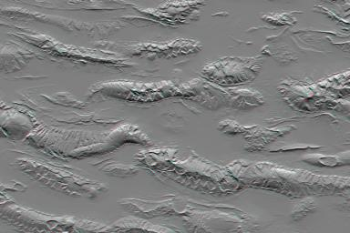 The Zagros Mountains in Iran offer a visually stunning topographic display of geologic structure in layered sedimentary rocks in this anaglyph from NASA's Shuttle Radar Topography Mission. 3D glasses are necessary to view this image.