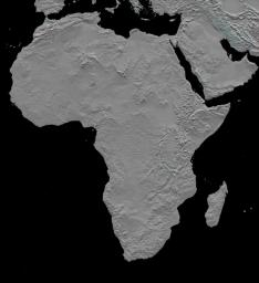This stereoscopic shaded relief image from NASA's Shuttle Radar Topography Mission shows Africa's topography. Also shown are Madagascar, the Arabian Peninsula, and other adjacent regions. 3D glasses are necessary to view this image.