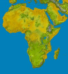 Elevation data at the highest possible resolution from NASA's SRTM mission in February 2000 are being released for the first time for most of the African continent. This color shaded relief image shows the extent of SRTM digital elevation data for Africa.