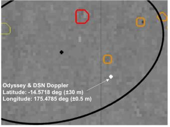 This map shows a close-up look at the estimated location of NASA's Mars Exploration Rover Spirit within Gusev Crater, Mars. Measurements taken during the rover's descent by the DSN predicted its landing site to be the spot marked with a black dot.