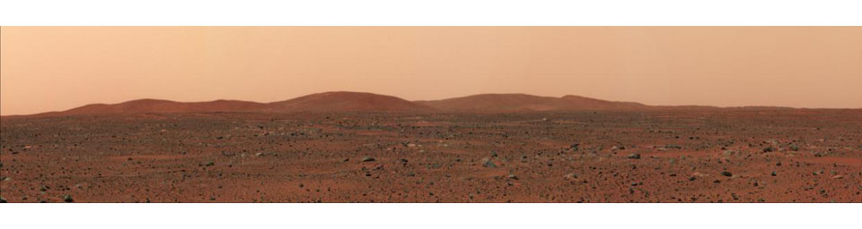 In the distance stand the east hills, which are closest to NASA's Mars Exploration Rover Spirit in comparison to other hill ranges seen on the martian horizon.