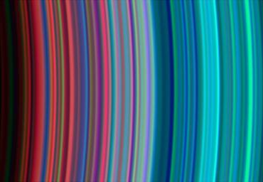 Images taken during NASA's Cassini spacecraft's orbital insertion on June 30 show definite compositional variation within the rings.