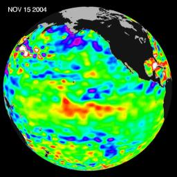 Recent sea-level height data from NASA's U.S./France Jason altimetric satellite during a 10-day cycle ending November 15, 2004.
