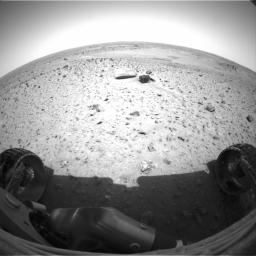 This image from NASA's Mars Exploration Rover Spirit the rover's view of the martian landscape from its position 1 meter (3 feet) northwest of the lander.