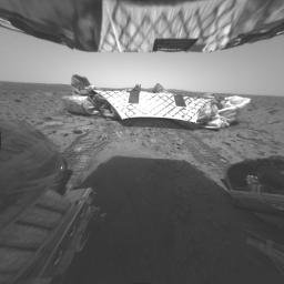 This image was taken by NASA's Mars Exploration Rover Spirit's rear hazard-identification camera. Well-defined track characteristics suggest the presence of very fine particles in the martian soil (along with larger particles).