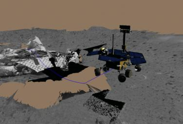 Virtual Rover Drives Toward Rock