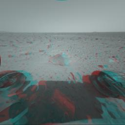 This 3-D stereo anaglyph image was taken by NASA's Mars Exploration Rover Spirit. 3D glasses are necessary to view this image.