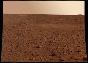 This image was taken by the panoramic camera onboard NASA's Mars Exploration Rover Spirit before it rolled off the lander shows the rocky surface of Mars in 2004.