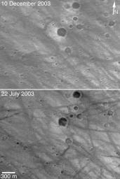 NASA's Mars Global Surveyor shows the area where the Mars rover Spirit is believed to have touched down.