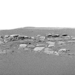 NASA's Mars Exploration Rover Opportunity shows in superb detail a portion of the puzzling rock outcropping the rover investigated.
