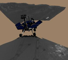 This image is a screenshot from a computer-generated animation showing NASA's Mars Exploration Rover Opportunity trenching a hole in the sandy soil at Meridiani Planum, Mars.