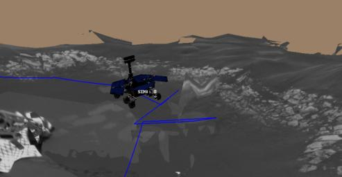 This image is a screenshot from a computer-generated animation showing the path NASA's Mars Exploration Rover Opportunity traveled.