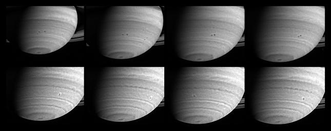 Three months before its scheduled arrival at Saturn, NASA's Cassini spacecraft has observed two storms in the act of merging. With diameters close to 1,000 kilometers (621 miles), both storms, which appear as spots in the southern hemisphere.