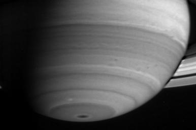 This image captured by NASA's Cassini spacecraft shows the delicate banded nature of Saturn's atmosphere.
