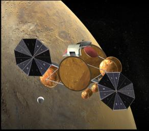 This artist's concept of the proposed NASA Mars Sample Return mission shows rendezvous of the orbiting sample container with the Earth return vehicle.