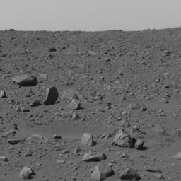 NASA's Spirit used its panoramic camera to capture this view of the rocky terrain just to the left of straight ahead after finishing a drive to the northeast on March 5, 2004.