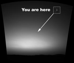This is the first image ever taken of Earth from the surface of a planet beyond the Moon. It was taken by the Mars Exploration Rover Spirit one hour before sunrise on the 63rd martian day, or sol, of its mission.
