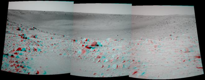 NASA's Mars Exploration Rover Spirit took this 3-D navigation camera mosaic of the crater called 'Bonneville.' 3D glasses are necessary to view this image.