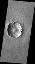 This image from NASA's 2001 Mars Odyssey released on March 19, 2004 shows what a typical crater on Mars would look like.